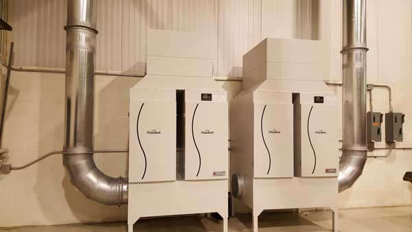 Plastic and Fiberglass dust collection system with dual cyclone pre-cleaners (2008 - Ashtabula, OH)